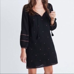 Madewell Signal Embroidered Tunic Dress Tassels